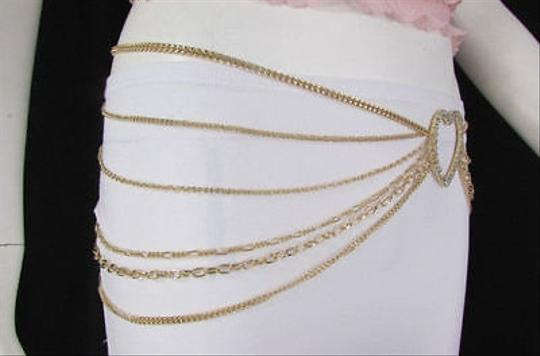 Alwaystyle4you Women Belt Hip Waist Gold Metal Multi Chains Beads Heart Charm Image 6