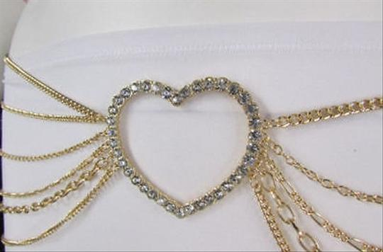 Alwaystyle4you Women Belt Hip Waist Gold Metal Multi Chains Beads Heart Charm Image 7