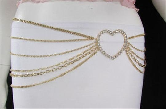 Alwaystyle4you Women Belt Hip Waist Gold Metal Multi Chains Beads Heart Charm Image 8