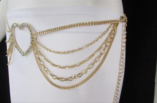 Alwaystyle4you Women Belt Hip Waist Gold Metal Multi Chains Beads Heart Charm Image 9