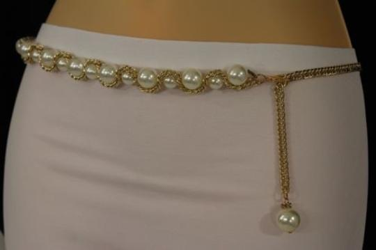 Other Women Belt Hip Waist Gold Metal Chains Big Pearl Beads Fashion Plus