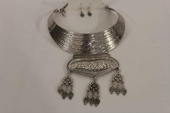 Other Women Fashion Choker Necklace Pendant Long Antique Silver Metal Earrings Set