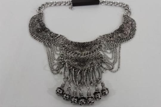 Other Women Fashion Choker Necklace Pendant Antique Silver Long Metal Chains Bells