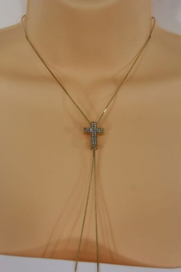 Alwaystyle4you Women Long Gold Necklace Cross Pendant Silver Rhinestone Adjustable Image 4