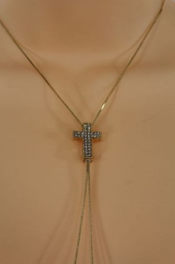 Alwaystyle4you Women Long Gold Necklace Cross Pendant Silver Rhinestone Adjustable Image 6