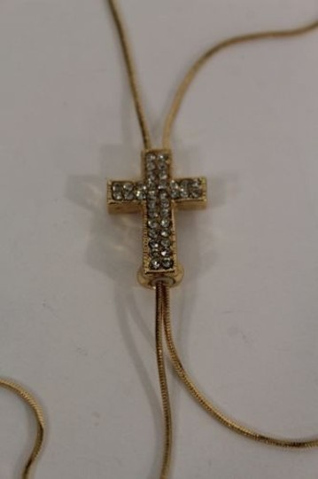 Other Women Long Gold Fashion Necklace Cross Pendant Silver Rhinestone Adjustable
