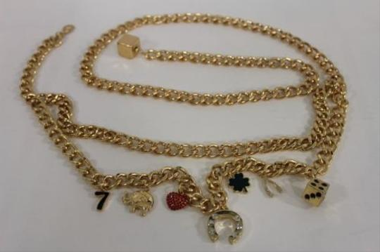 Other Women Fashion Belt Gold Metal Chains Luck Heart Elephant Dice Charms