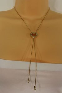 Other Women Long Gold Fashion Necklace Heart Pendant Silver Rhinestone Adjustable