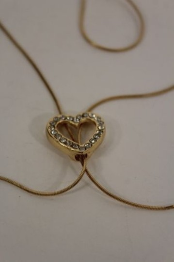 Other Women Long Gold Necklace Heart Pendant Silver Rhinestone