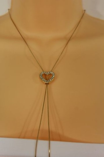 Alwaystyle4you Women Long Gold Necklace Heart Pendant Silver Rhinestone Image 9