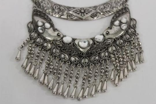Other Women Fashion Choker Necklace Pendant Antique Silver Metal Big Birds Beads
