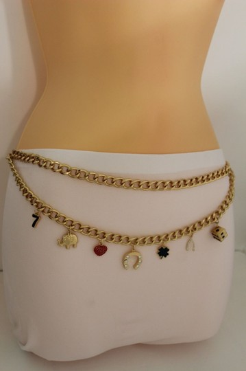 Other Women Fashion Belt Gold Metal Chain Hip High Lucky Heart Dice Charm