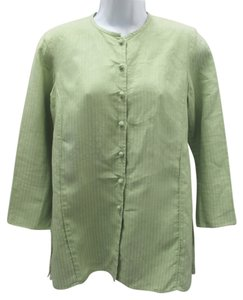 Eileen Fisher Light Green Linen Tunic Top