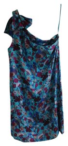 French Connection short dress Carib blue multi color flowers Silk Floral One Shoulder on Tradesy