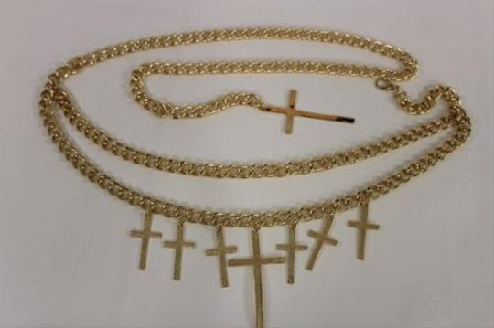 Other Women Fashion Belt Gold Metal Chunky Chains Links Big Cross Charms