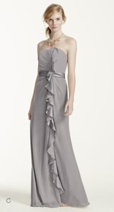 David's Bridal Mecury Long Strapless Dress With Front Ruffle Cascade F14336 Dress