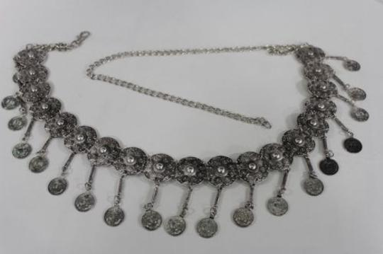 Alwaystyle4you Women Belt Hip High Coins Silver Metal Chains Moroccan Fashion Image 2