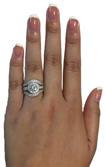 Forever Gift Shop Sz 6/7/8/9 Solid Sterling Silver S925 3 Carats CZ Wedding Band 3 Pcs Set