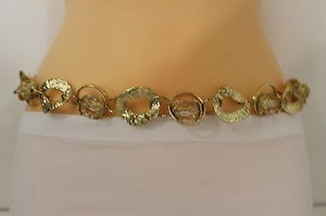 Other Women Fashion Belt Hip High Waist Chunky Gold Thick Metal Chain Flower