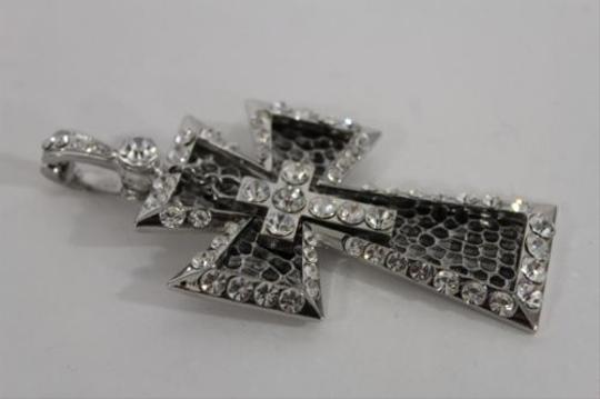 Other Women Silver Metal Scarf Necklace Pendant Charm Cross Rhinestones 3d Big