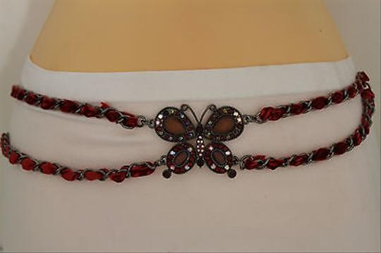 Other Women Fashion Belt Hip Waist Metal Chain Big Butterfly Charm Red Beads