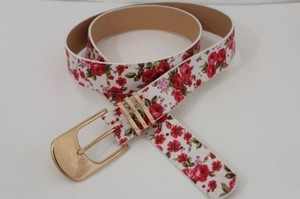 Other Women Fashion Belt White Red Flowers Faux Leather Gold Buckle Plus