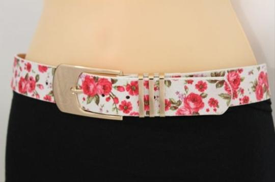 Other Women Fashion Belt White Red Flowers Gold Buckle Plus