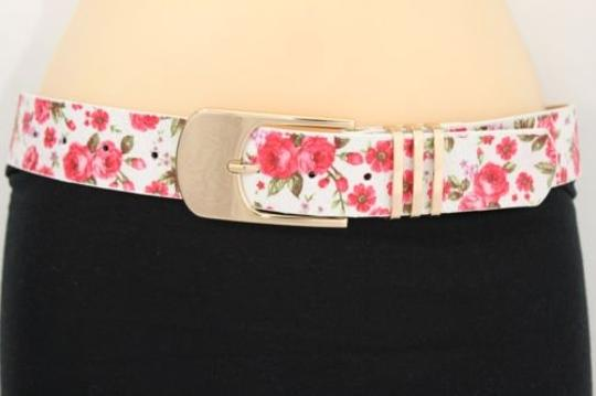 Alwaystyle4you Women Fashion Belt White Red Flowers Gold Buckle Plus Image 1