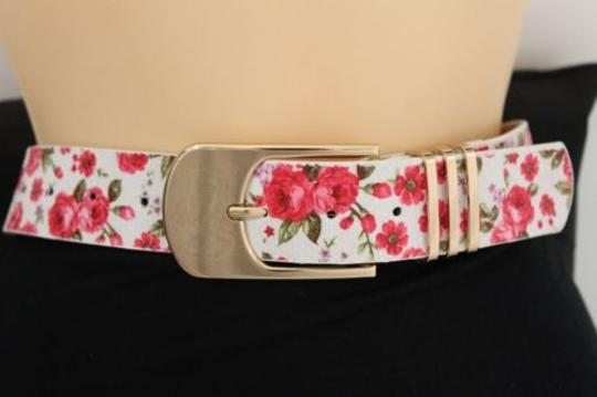 Alwaystyle4you Women Fashion Belt White Red Flowers Gold Buckle Plus Image 10