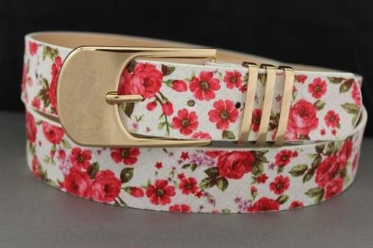 Alwaystyle4you Women Fashion Belt White Red Flowers Gold Buckle Plus Image 11