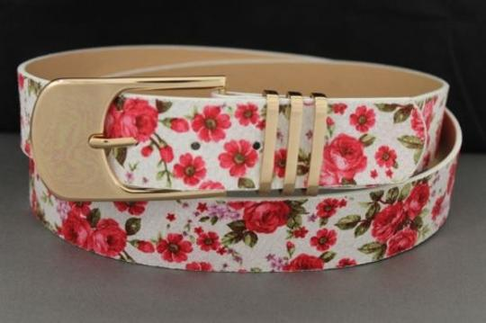 Alwaystyle4you Women Fashion Belt White Red Flowers Gold Buckle Plus Image 2