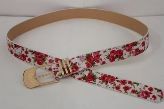 Alwaystyle4you Women Fashion Belt White Red Flowers Gold Buckle Plus Image 3