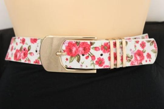 Alwaystyle4you Women Fashion Belt White Red Flowers Gold Buckle Plus Image 4