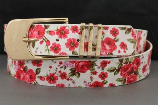 Alwaystyle4you Women Fashion Belt White Red Flowers Gold Buckle Plus Image 5