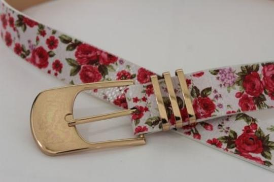 Alwaystyle4you Women Fashion Belt White Red Flowers Gold Buckle Plus Image 6