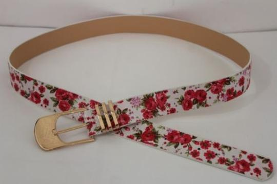 Alwaystyle4you Women Fashion Belt White Red Flowers Gold Buckle Plus Image 8