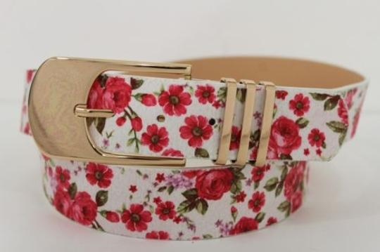 Alwaystyle4you Women Fashion Belt White Red Flowers Gold Buckle Plus Image 9