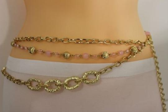 Other Women Fashion Belt Hip High Waist Chunky Gold Thick Metal Chain Pink