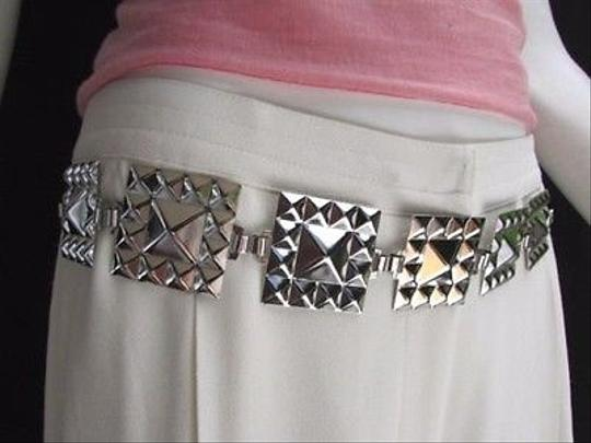 Other Women Silver Fashion Belt Hip Waist Pyramid Suqare Plate Metal Chain Links