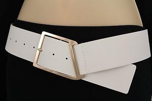 Women Fashion Belt White Wide Faux Leather Gold Metal Buckle Plus