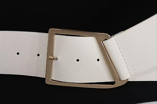 Other Women Fashion Belt White Wide Faux Leather Gold Metal Buckle Plus