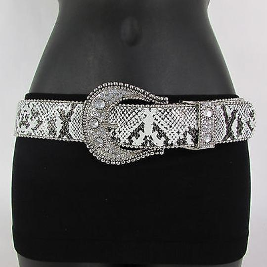 Other Women Fashion Belt White Black Faux Leather Snake Skin Silver Buckle