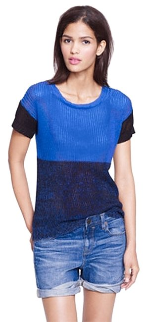 Preload https://item4.tradesy.com/images/jcrew-blue-and-black-linen-colorblock-sweaterpullover-size-2-xs-4314643-0-0.jpg?width=400&height=650