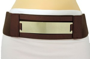 Women Fashion Belt Gold Metal Plate Mirror Hip High Waist Brown Elastic
