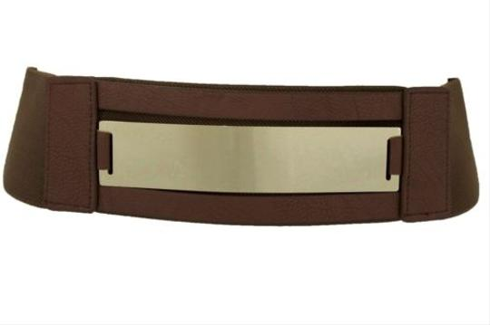Other Women Fashion Belt Gold Metal Plate Mirror Hip High Waist Brown Elastic