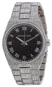 Michael Kors Michael Kors Black Glitter Dial Crystal Pave Encrusted Silver Tone Ladies Luxury Watch