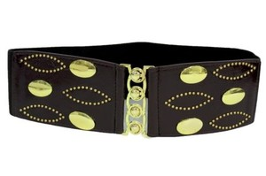 Other Women Belt Wide Dark Brown Faux Leather Elastic Gold Metal Buckle Studs