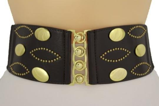 Other Women Belt Wide Dark Brown Faux Leather Elastic Gold Buckle