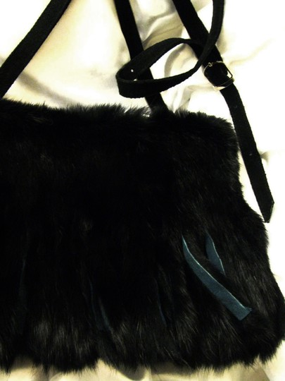 Shelley Wenum Soft Rabbit Fur Suede Fringe Silver Hardware Shoulder Bag
