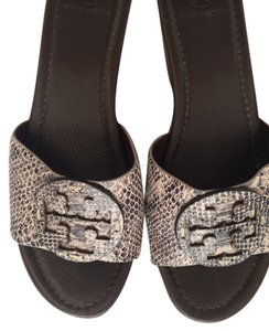 Tory Burch Python print embossed leather Wedges
